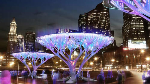 """Los """"Boston Tripoods"""" podrían alimentarse de energía solar y emitir luz por las noches. (Foto: CNN)"""