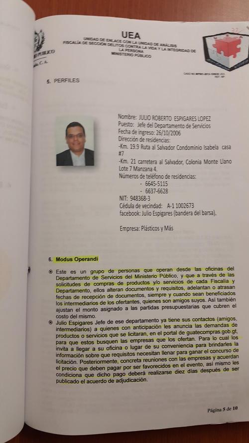 El expediente describe cuál era la forma de operar de la banda de Espigares, yerno del magistrado Molina Barreto.