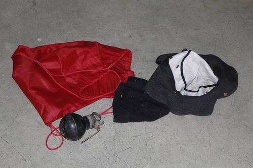 Esta es la granada que fue decomisada Sandy Camey, durante un operativo en Sacoj Grande, Mixco. Foto: PNC