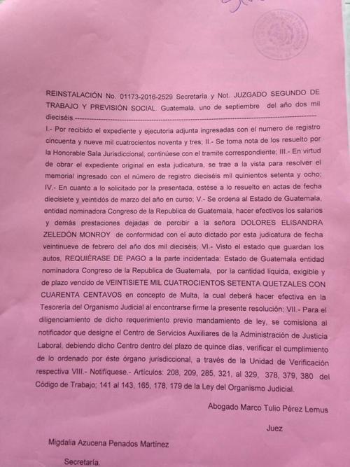 El Congreso fue multado con 27 mil 470 quetzales por no reinstalar a una empleada. (Foto: José Miguel Castañeda/Soy502)
