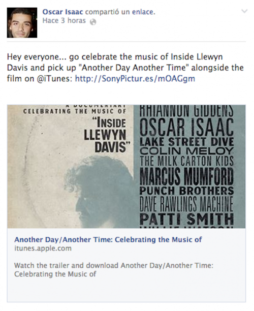 "Oscar Isaac invita a todos a obtener el concierto/documental Another Day Time: Celebrating the Music of ""Inside llewyn Davis""."