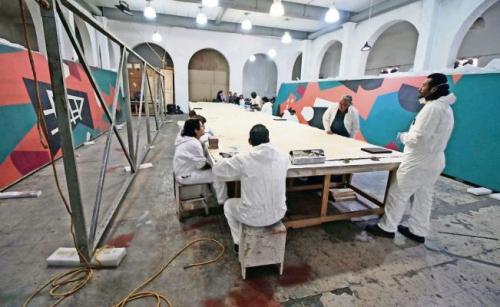 el telón de Carlos Mérida está siendo restaurado. (Foto: Germán García/El Universal)
