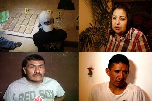 Los detenidos son Ervin Danilo Godoy Sicaja, de 40 años, Andy René Morales Argueta, de 33 y Lesly Dinora Linares Martínez, de 35 años, quienes fueron sorprendidos cuando intentaban escapar en el pick up marca Toyota, Hilux.  (Foto: PNC)