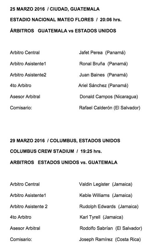 Nombramientos completos para el doble duelo entre la Selección de Guatemala y Estados Unidos.