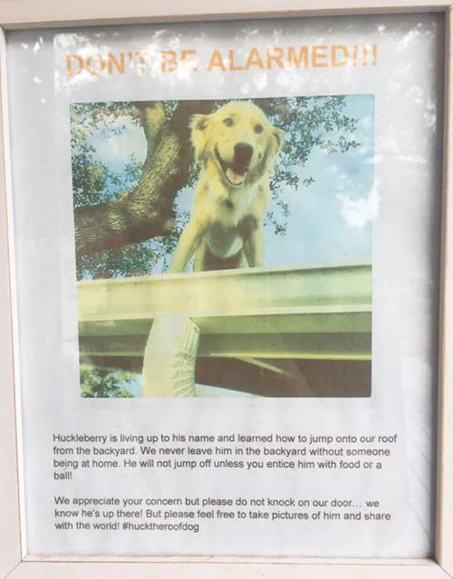 Este es el mensaje que la familia de Huck ha puesto fuera de su casa. (Foto: redes sociales)