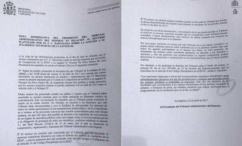 El TAD envío una nota informativa sobre el caso Neymar al Barcelona. (Foto: As)
