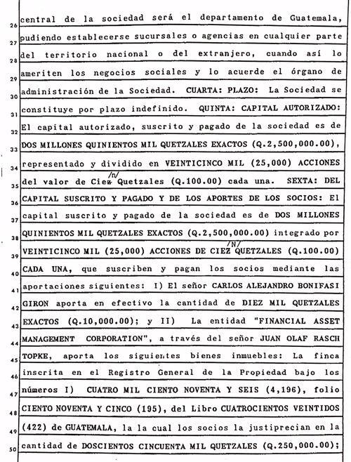 """Bonifasi Girón aportó 10 mil quetzales a la sociedad. """"Financial Asset Management Corporation"""" aportó varias fincas que formaban un solo cuerpo en Santa Catarina Pinula."""