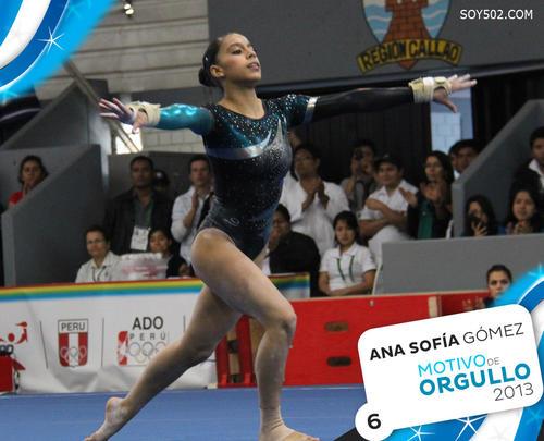 Ana Sofía Gómez, medalla de oro en el Panamericano de Gimnasia en Puerto Rico, cuarto lugar en la Copa Mundial de Gimnasia en Eslovenia, campeona panamericana de gimnasia, acreedora de dos medallas de oro y tres de plata en los Juegos Bolivarianos de Trujillo en Venezuela.