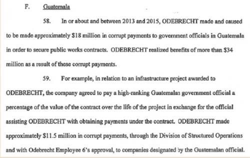 Estes el documento liberado de la confesión del dueño de Odebrecht sobre los sobornos a Guatemala.