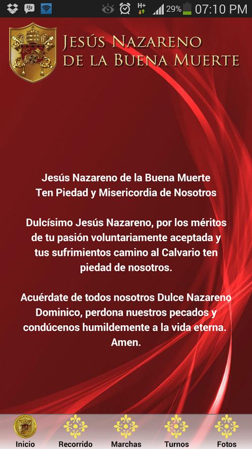 Así se ve la aplicación de Jesús Nazareno de la Buena Muerte