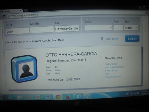 Pantalla del sistema donde se ve claramente que Otto Herrera recuperó su libertad. A diferencia de otros narcotraficantes de su estatura, purgó pocos años de cárcel.