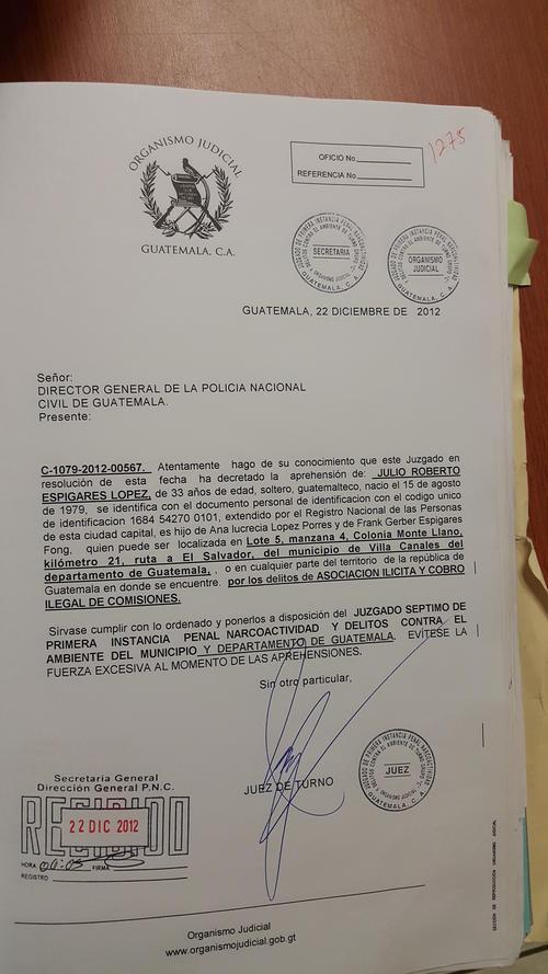 Esta es la orden de captura solicitada contra Julio Espigares.