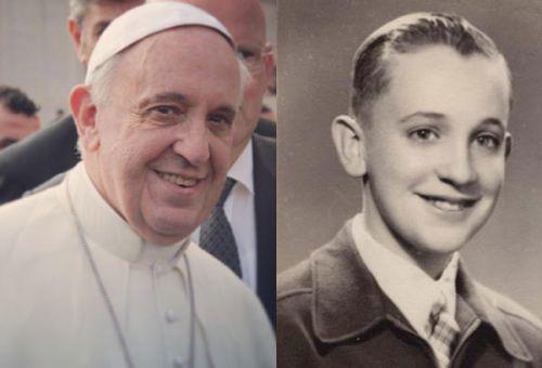 La imagen muestra una foto del actual papa Francisco, quien hoy cumple 77 años y una de su juventud como Jorge Bergoglio. (Foto: aciprensa.com)