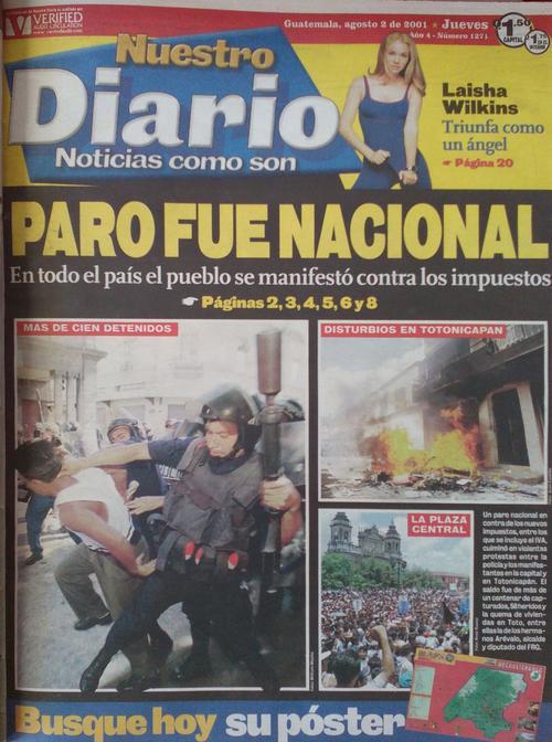 La portada de Nuestro Diario el 2 de agosto, el día después del Paro Nacional. (Foto: Archivo)
