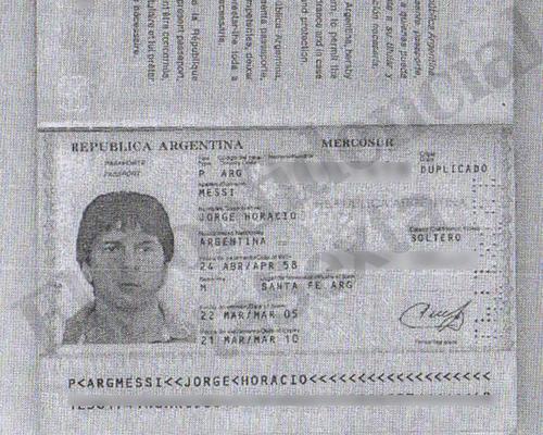Pasaporte del padre de Messi.