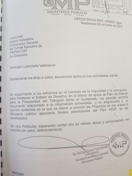 En esta nota oficial, el MP solicita información del financiamiento del MP en relación al Plan para la Prosperidad.