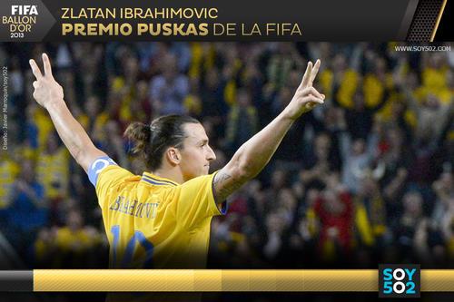 El sueco Zlatan Ibrahimovic, quien se quedó sin mundial tras la eliminación de Suecia, tuvo que esperar más de un año para recibir el premio por su gol ante Inglaterra.