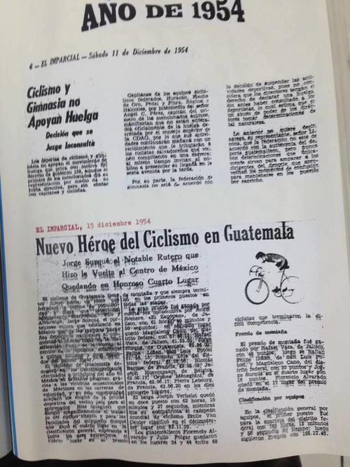 """""""Nuevo héroe del ciclismo de Guatemala""""; así era llamado Jorge Surqué. (Foto: Hemeroteca Nacional)"""