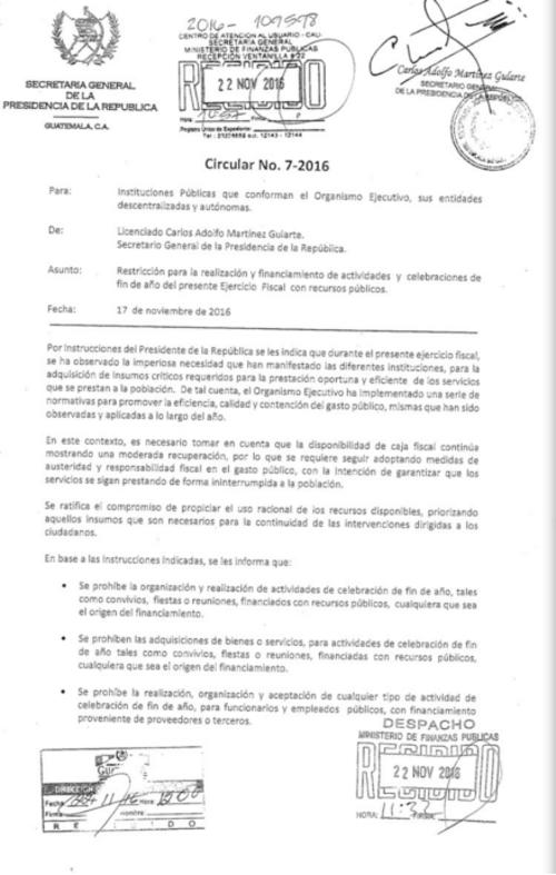 Por medio de la circular 7-2016, el Organismo Ejecutivo prohibió los convivios y otros festejos de fin de año. (Foto: Soy502)