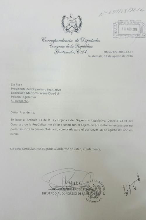 Esta es la carta enviada por el diputado Luis Rabbé al Congreso este jueves. (Foto: José Miguel Castañeda/Soy502)