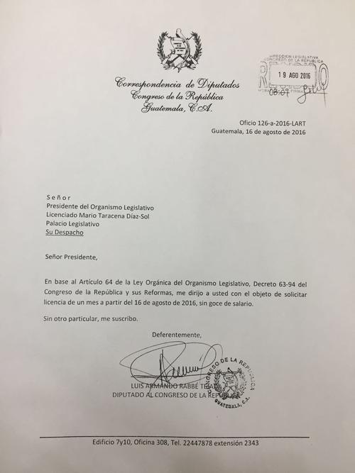 Esta es la carta enviada por el expresidente del Congreso, Luis Rabbé, para solicitar permiso para ausentarse durante un mes.