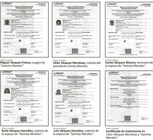 Estos son los certificados de nacimiento proporcionados por el Renap. (Foto: La Hora)