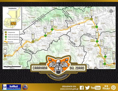 La CONRED divulgó un mapa del recorrido de la Caravana del Zorro en el que se listan los puntos de asistencia y centros de control.
