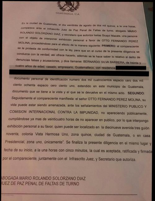 Este es el recurso de exhibición personal planteado por Silva en horas de la madrugada. (Foto: Bernardo Silva)