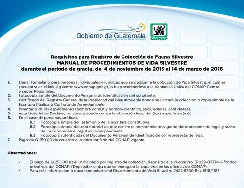 Listado de requisitos para inscribir a la fauna silvestre. (Foto: Conap)
