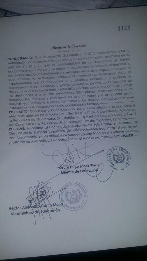 Esta fue la resolución firmada por el Ministro de Educación, Oscar Hugo López.
