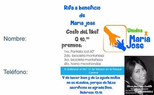 Para el 14 de febrero se tiene programada una rifa y todo lo recaudado irá para pagar los costos de hospitalización de María José López.