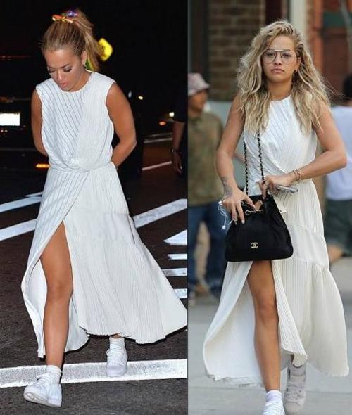 ita Ora la noche antes y la mañana de después de pasar la noche en el hotel de Chris Martin y con el mismo vestido. (Foto: Twitter)