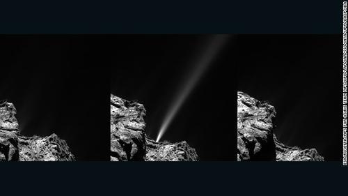 Las imágenes muestran como el cometa empieza a despedir vapor y polvo al contacto con la radiación del Sol.  (Foto: ESA)