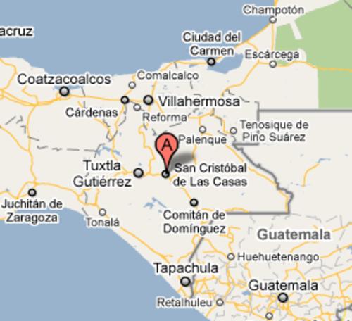 San Cristóbal de las Casas está ubicado a 389 Kilómetros de la frontera entre Guatemala y México.