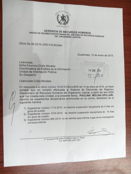 En este oficio se documentan 15 días de suspensión sin goce de salario para Paulina Molina Spillari, en el año 2015.