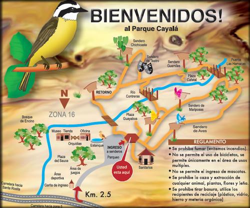 Mapa del parque y su reglamento.