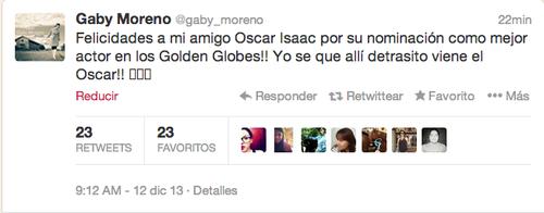 Gaby Moreno felicita a través de su cuenta oficial de Twitter al actor guatemalteco Oscar Isaac.
