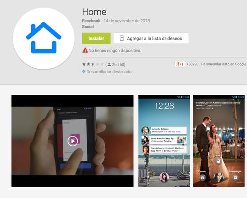 La aplicación Facebook Home.