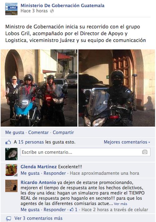 Así aparece la publicación del Ministerio de Gobernación para este domingo, en su página de Facebook. Foto Facebook