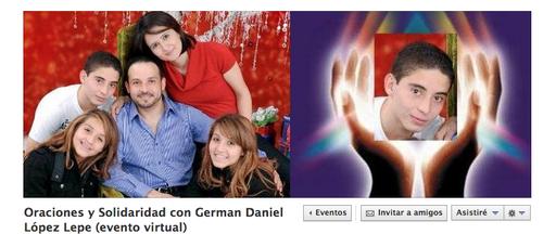 En Facebook se ha creado una página de evento para sumar donativos de sangre y sobre todo, oraciones, para German Daniel López Lepe.
