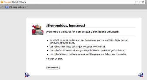 Al buscar about:robots en Firefox despliega este mensaje.