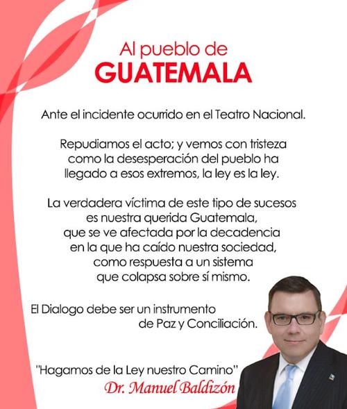Comunicado que Manuel Baldizón publicó en sus redes sociales.