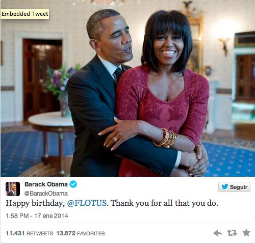 El presidente Obama, felicitó a su esposa.