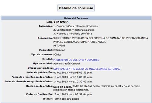Detalles del concurso en el portal de compras y contrataciones del Estado. (Fuente: Guatecompras)