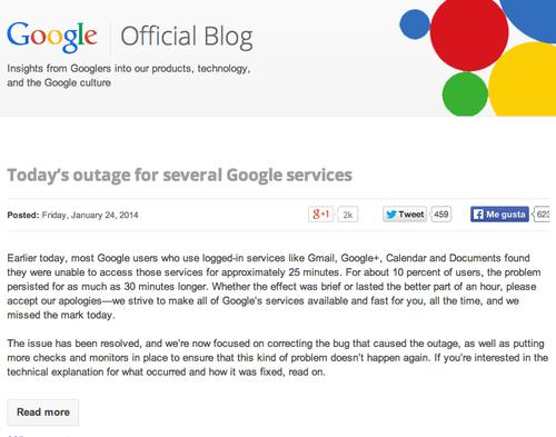 Google informó sobre los detalles que provocaron los inconvenientes en su blog oficial. (Foto: Google)