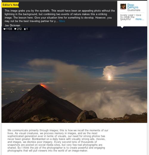 Espacio en el que se publica la fotografía del joven guatemalteco como una de las ganadoras.