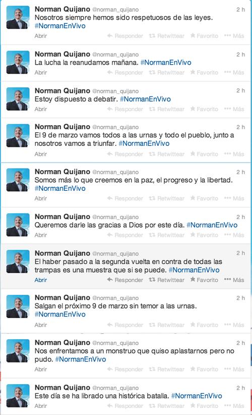 Los tuits del candidato que se encuentra en segundo lugar de la primera ronda electoral en El Salvador.