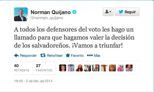 El candidato, Norman Quijano, que se encuentra en segundo lugar se mantiene optimista por una victoria.