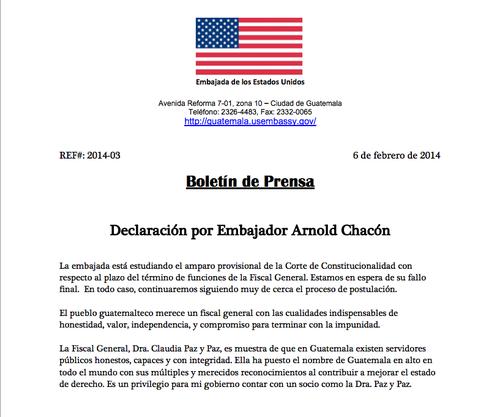 La tarde de este jueves el embajador de Estados Unidos Arnold Chacón se pronunció a favor de la Fiscal General Claudia Paz. Foto:Soy502