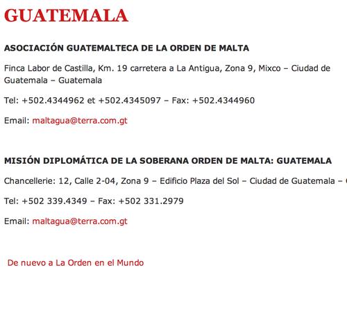 Soy502 intentó contactar con la Orden de Malta en Guatemala pero los números de teléfono se encuentran desconectados o ya no pertenecen a la organización.